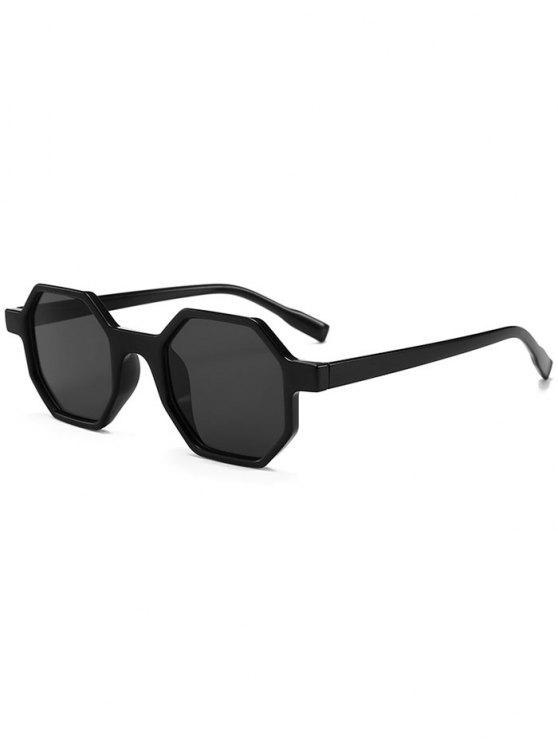 outfits Unique Hexagon Flat Lens Novelty Sunglasses - BLACK