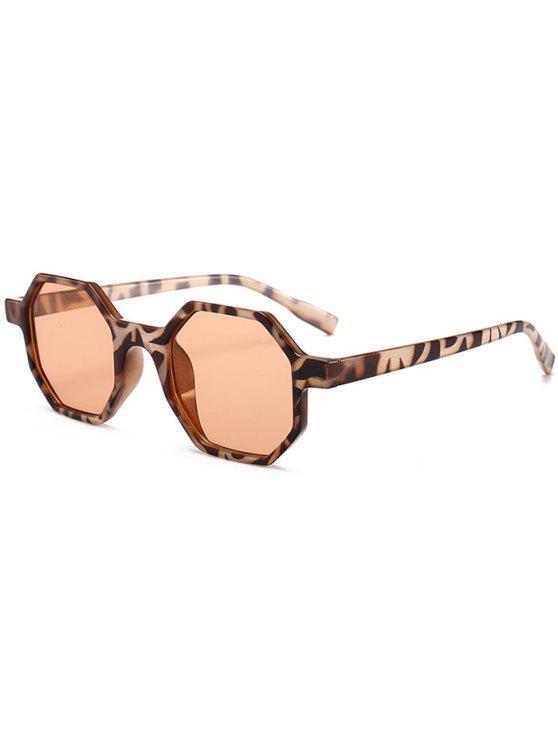 Occhiali Da Sole A Specchio Piatto Esagonale Antistanchezza - Leopardo