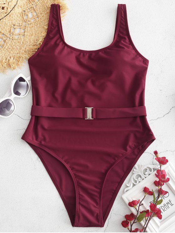 buy High Cut U Neck Backless Swimsuit - RED WINE S