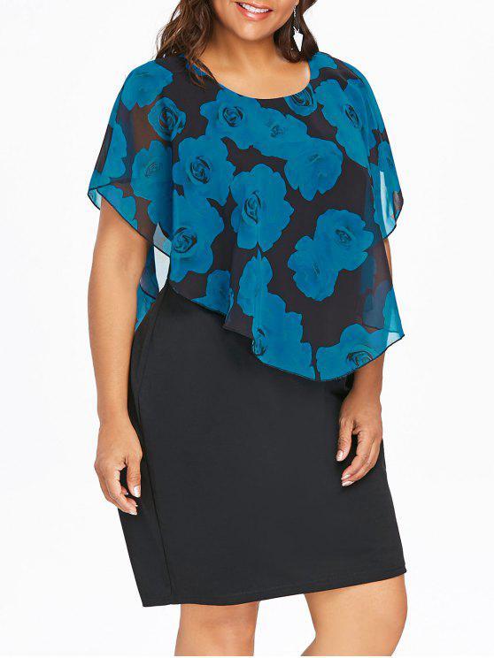 فستان الحجم الكبير طباعة الوردة - أزرق 5XL