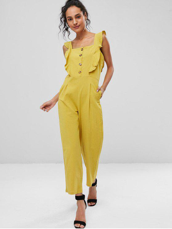 new Square Neck Ruffle Wide Leg Jumpsuit - YELLOW L