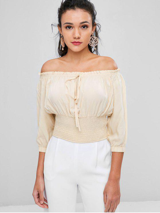 latest Tied Smocked Off Shoulder Top - CHAMPAGNE L