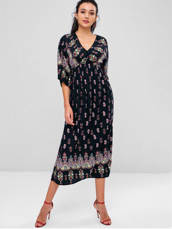 فستان عرائس بوهيمية متوسط الطول - أسود M