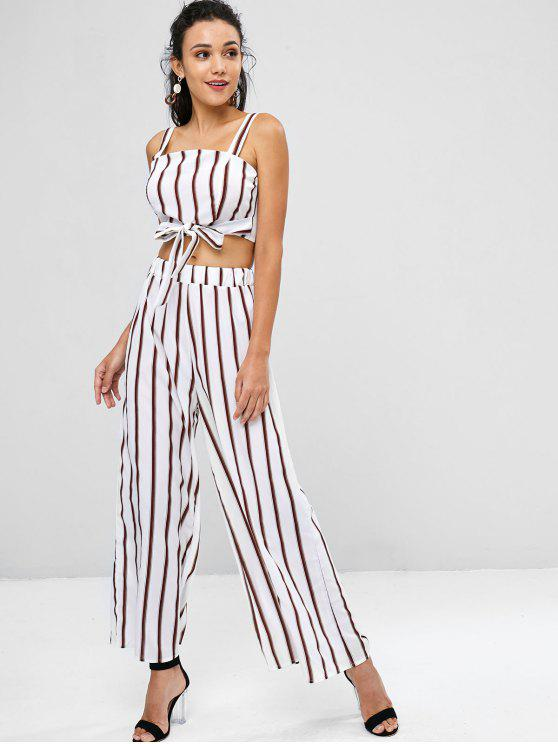 sale Striped Zip Top and Wide Leg Pants - WHITE L