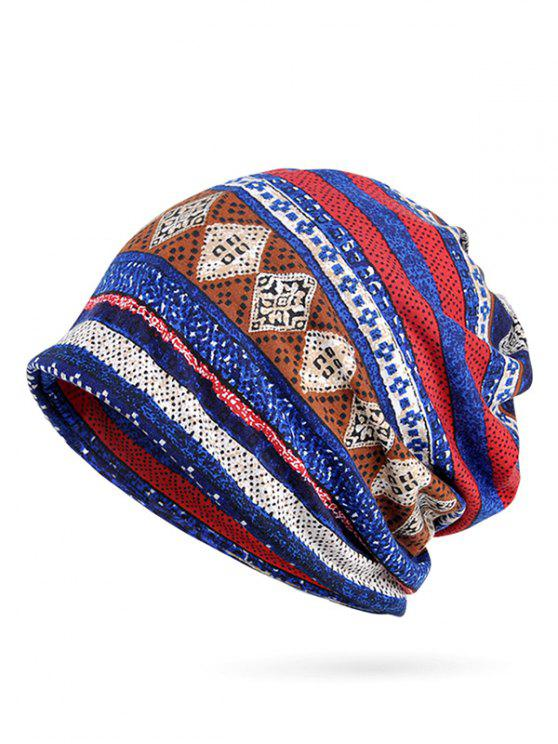 affordable Geometric Printed Slouchy Beanie - BLUE