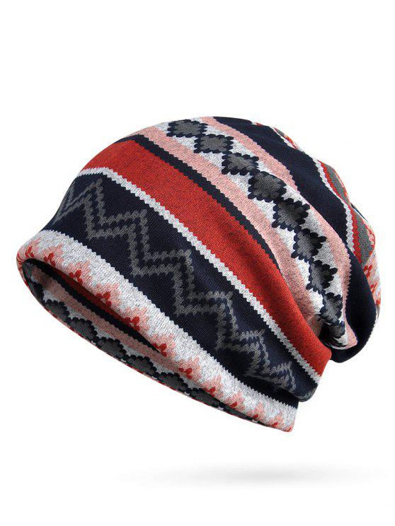 online Irregular Wave Pattern Slouchy Beanie - ROSE RED