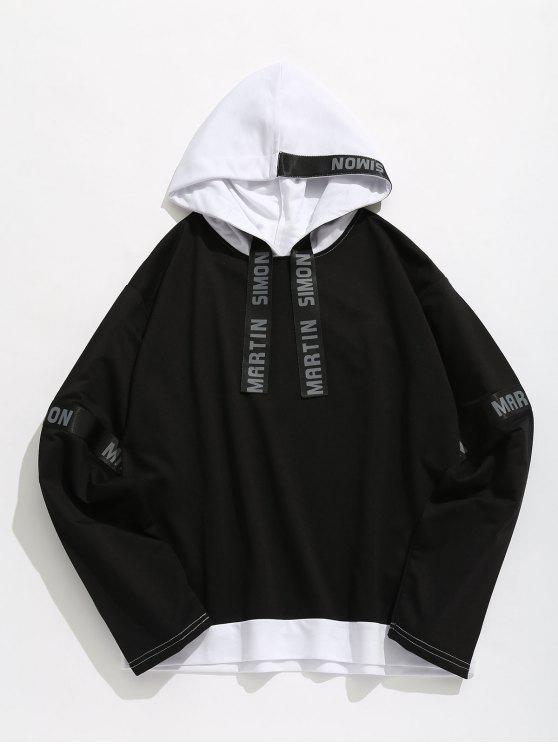 trendy Contrasting Letter Stripes Patch Hoodie - BLACK L