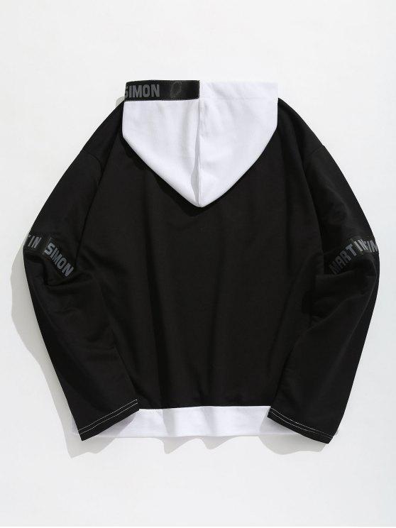 Xl Black Letter Stripes Contrasting Patch Hoodie FwvgXq