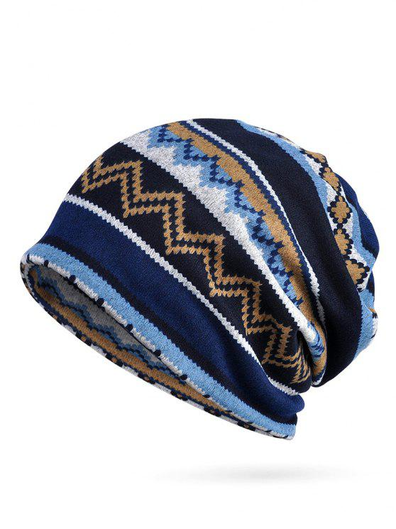 latest Irregular Wave Pattern Slouchy Beanie - BLUE
