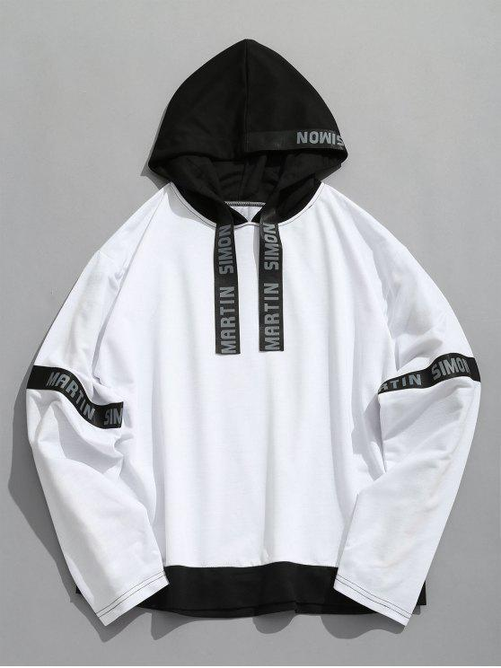 sale Contrasting Letter Stripes Patch Hoodie - WHITE L