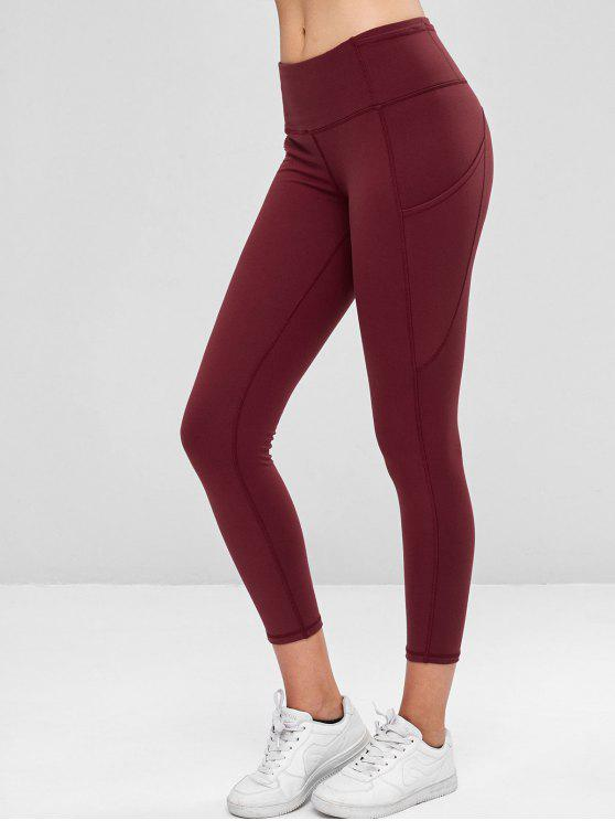 fashion Compression Sports Leggings With Pockets - MAROON XL