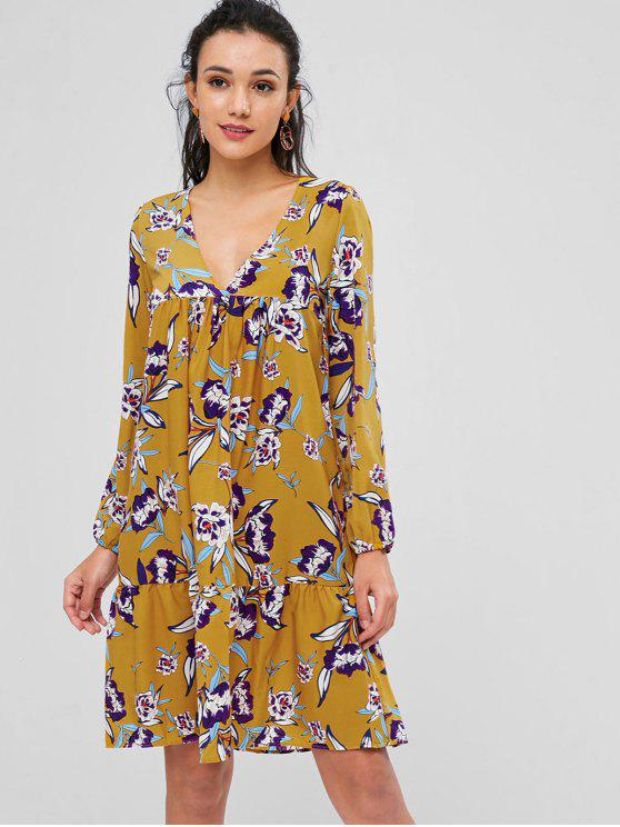 Robe Floral Imprimée à Taille Haute - Brun Doré L