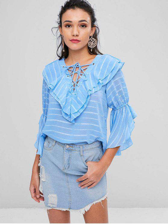 trendy Lace Up Tiered Striped Blouse - BABY BLUE L