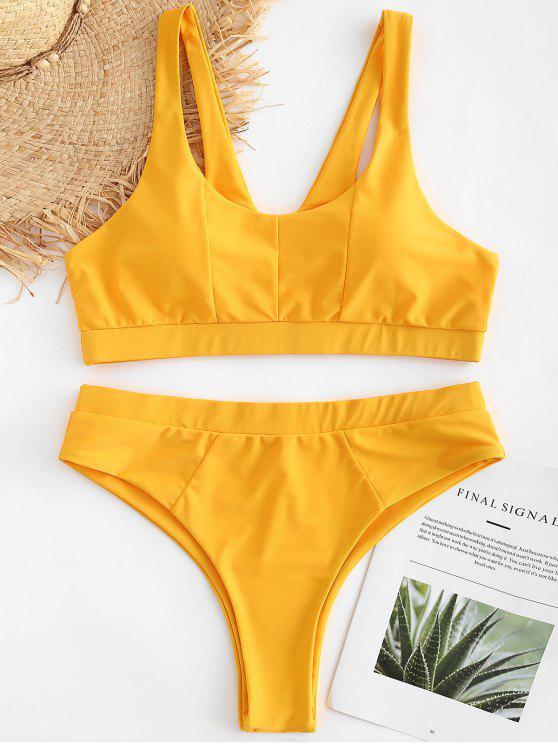 lady Plus Size High Waisted Padded Bikini Set - BRIGHT YELLOW 1X