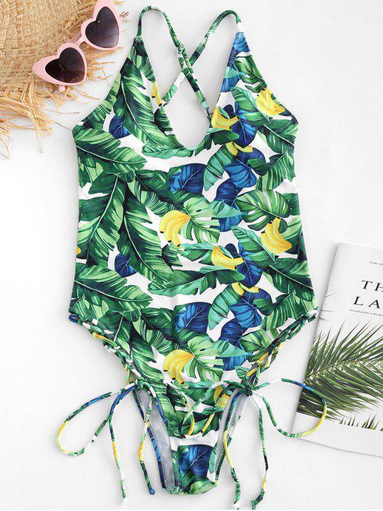 Costume Da Bagno Incrociato Tropicale Con Lacci - Multi Colori-A M