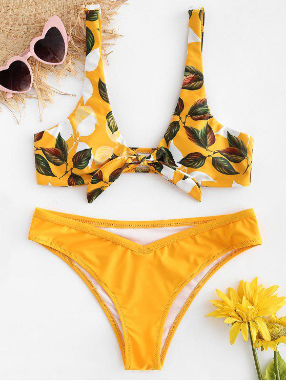 affordable Leaf Print Knot Bralette Bikini Set - BRIGHT YELLOW S