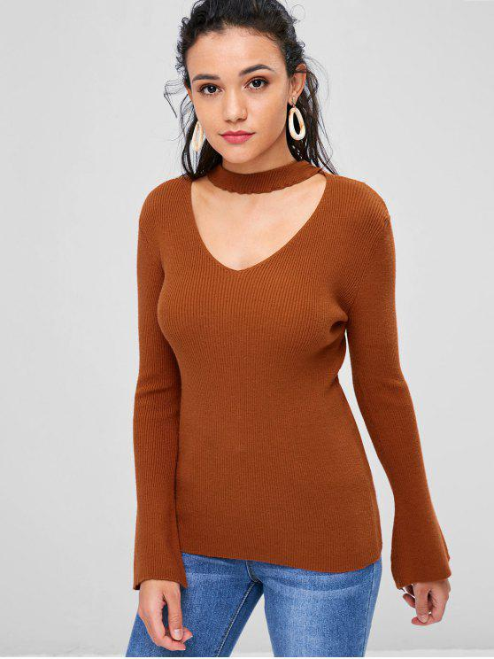 unique Bell Sleeve V Cutout Choker Neck Sweater - BROWN S