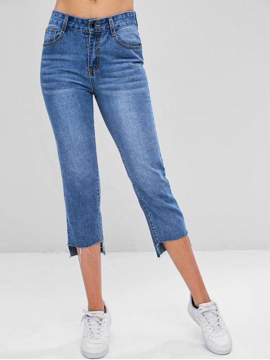 trendy Frayed High Low Ninth Jeans - DENIM BLUE L