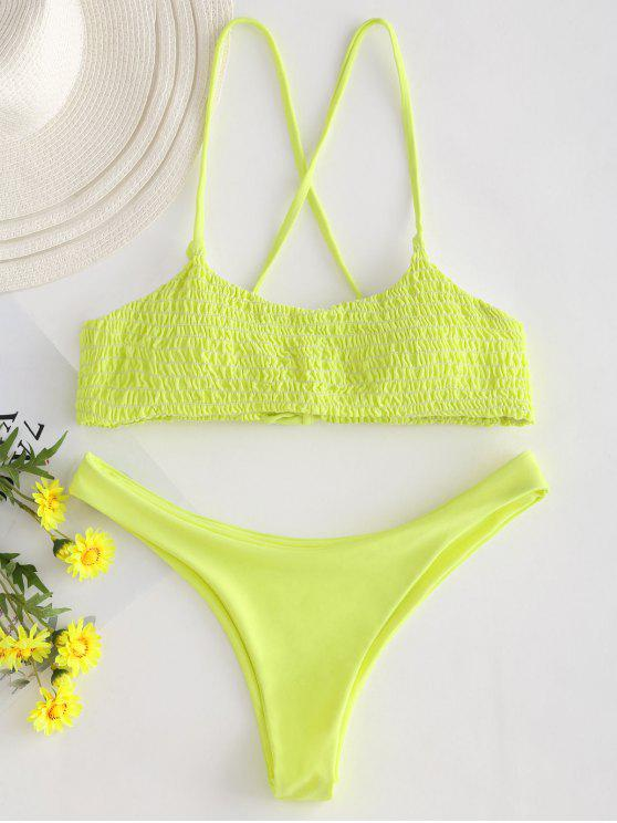 womens Lace-up Cross Strap Smocked Bikini - YELLOW L