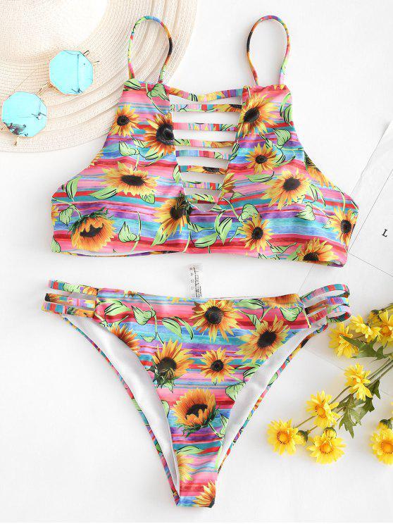 Leiter Ausgeschnittener Sonnenblume Bikini - Multi M