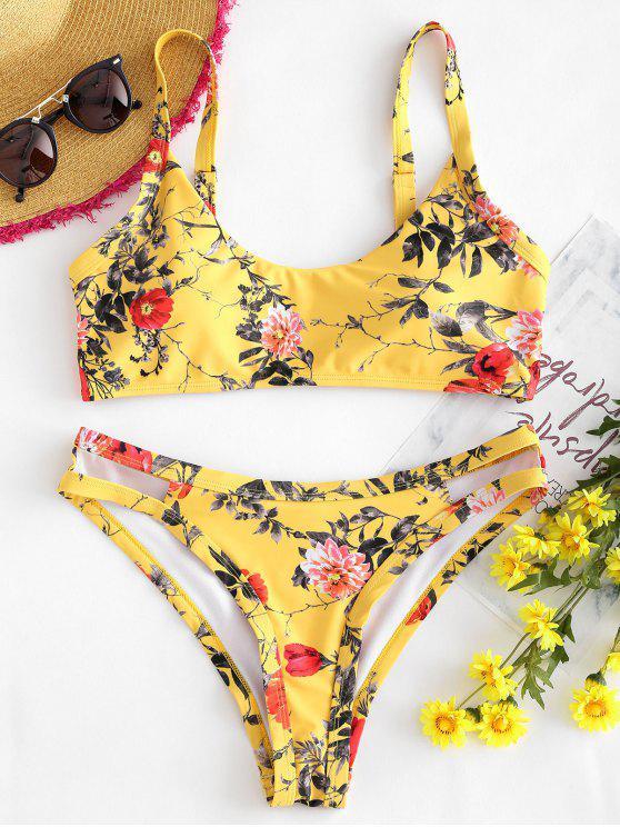 online High Cut Flower Print Bikini Set - RUBBER DUCKY YELLOW M