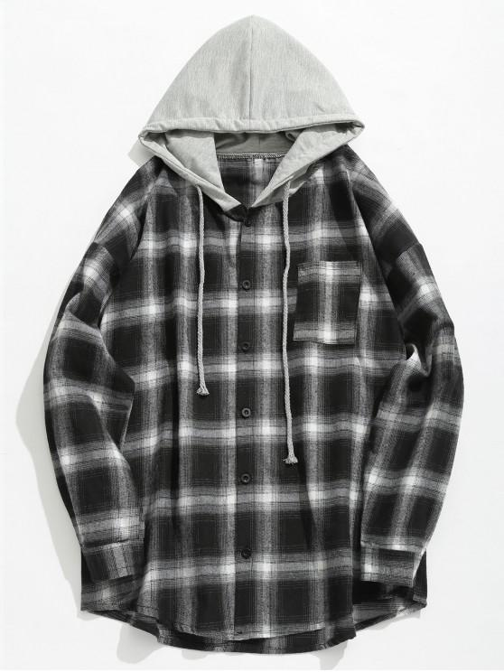 women Chest Pocket Check Hooded Shirt - BLACK L
