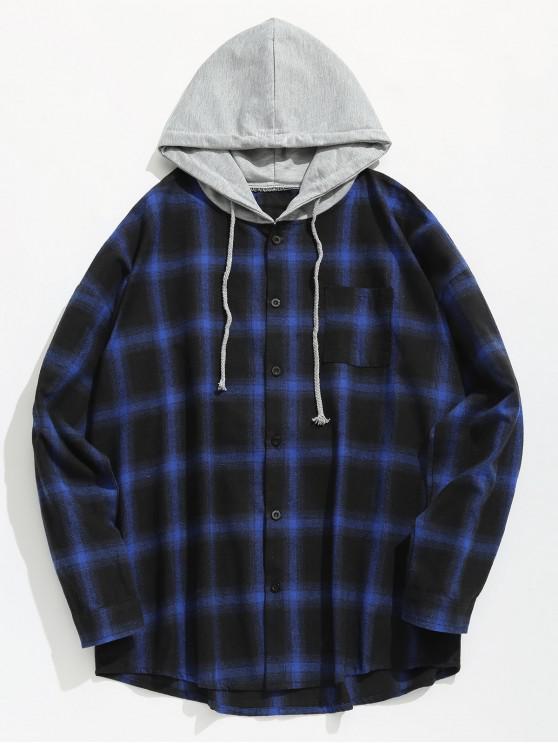 buy Chest Pocket Check Hooded Shirt - BLUE 2XL