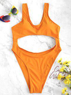 Cut Out High Cut Swimsuit - Dark Orange M