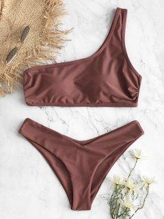 Gepolstertes Eine Schulter Hohes Bein Bikini Set - Rosa Bogen M
