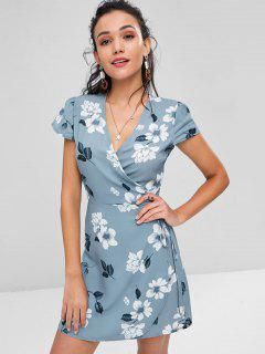 Mini Floral Print Wrap Dress - Baby Blue L