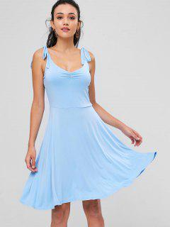 Ruched Sleeveless Dress - Light Blue L