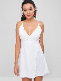 Ruffles Overlap Cami Dress - White L
