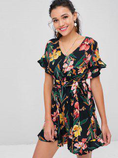 Belted Floral Print Tea Dress - Black Xl