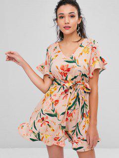 Belted Floral Print Tea Dress - Rosy Brown S