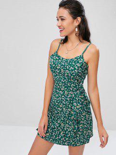Mini Vestido Floral De Imitación Del Abrigo Cami - Verde De Mar Ligero M