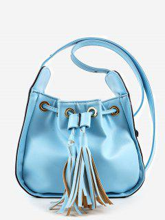 Chic Minimalist Tassels Solid Crossbody Bag - Blue
