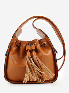 Chic Minimalist Tassels Solid Crossbody Bag - Brown