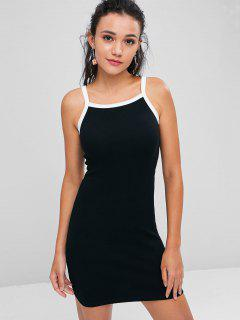 Contrasting Knitted Bodycon Dress - Black Xl