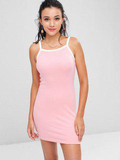 Contrasting Knitted Bodycon Dress - Light Pink S