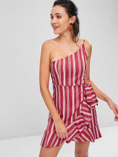 Ruffles Striped One Shoulder Dress - Cherry Red M