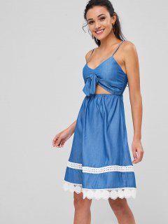 Cut Out Bowknot Cami Dress - Blue L
