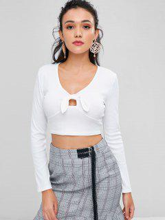 Knotted Crop T-shirt - Milk White M