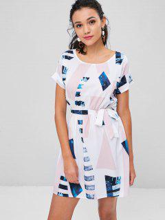 Geometric Print Belted Mini Tea Dress - Multi L