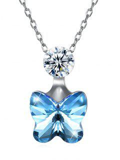 Elegant Crystal Butterfly Pendant Chain Necklace - Butterfly Blue