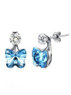 Crystal Butterfly Rhinestone Inlaid Stud Earrings - Butterfly Blue