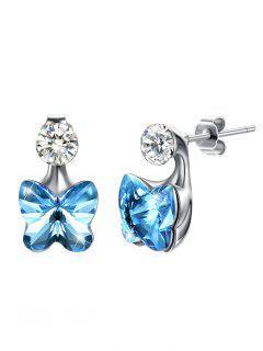 Crystal Butterfly Rhinestone Inlaid Stud Earrings - Butterfly Blue