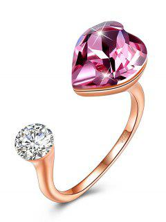 Rhinestone Inlaid Crystal Heart Cuff Ring - Hot Pink One-size
