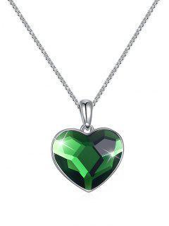 Elegante Collar Colgante De Corazón De Cristal - Verde De Trébol