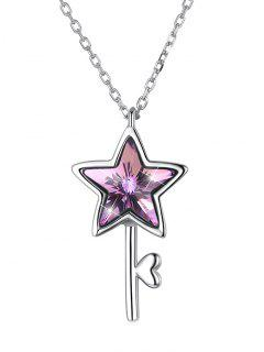 Stylish Crystal Star Pendant Chain Necklace - Tyrian Purple
