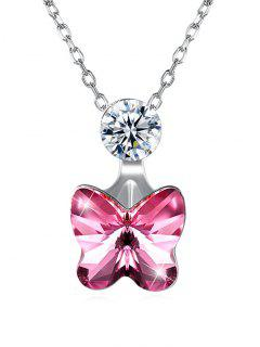 Elegant Crystal Butterfly Pendant Chain Necklace - Hot Pink